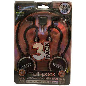 3 Pack Headphones Multipack w/ Two Way Splitter